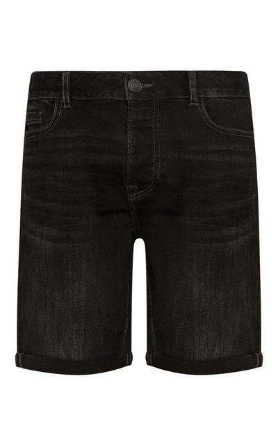 Black Denim Stretch Shorts