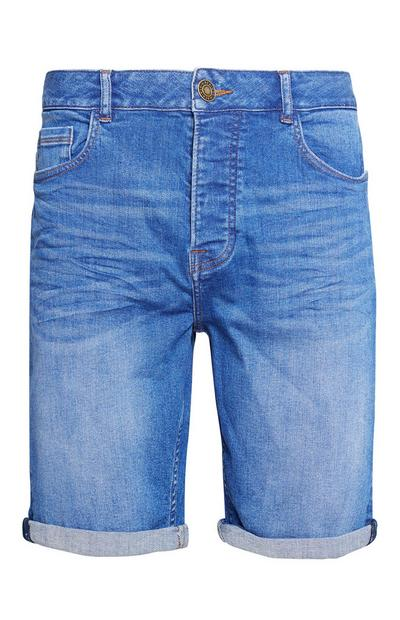 Blue Stretch Denim Short