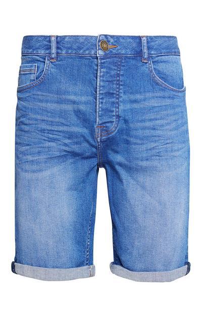 Blue Stretch Denim Short