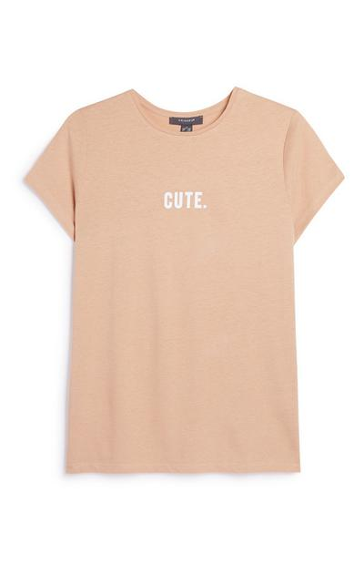 Tan Slogan T-Shirt