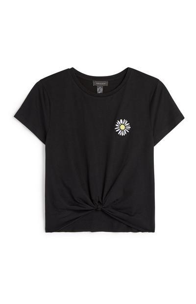 Black Daisy Knot Front T-Shirt