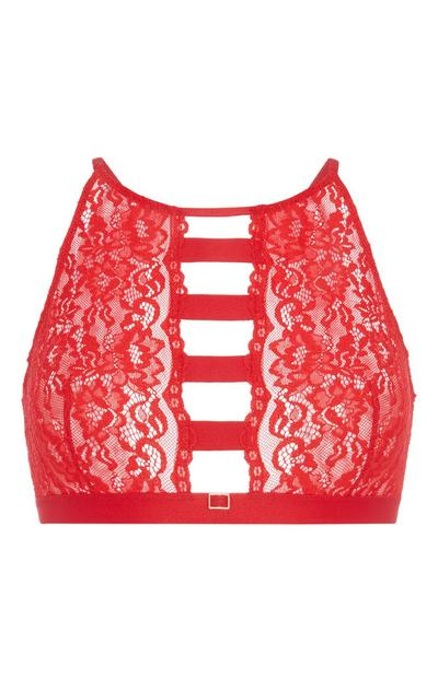 Red Lace Wide Strap Bralette