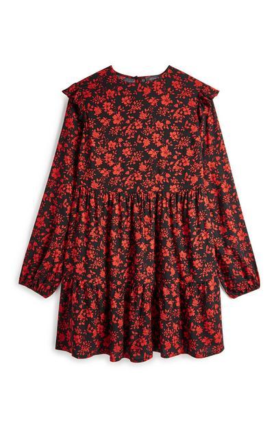 Red Floral Smock Dress