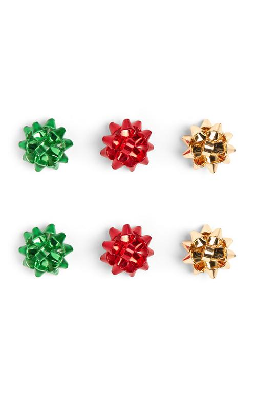 3 Pack Christmas Bow Earrings by Primark
