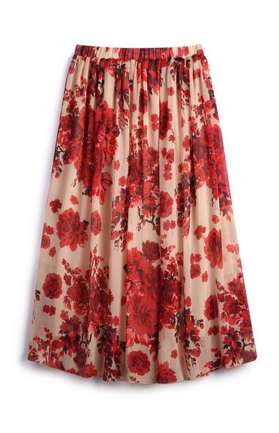 Chiffon Floral Midi Skirt