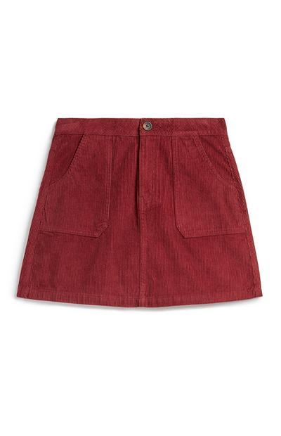 Red Corduroy Utility Skirt