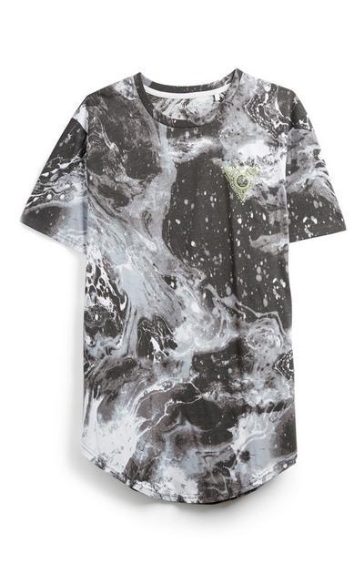 Graues T-Shirt in Marmoroptik