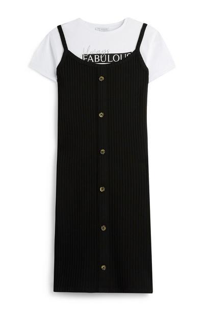 Older Girl Black Dress And T-Shirt