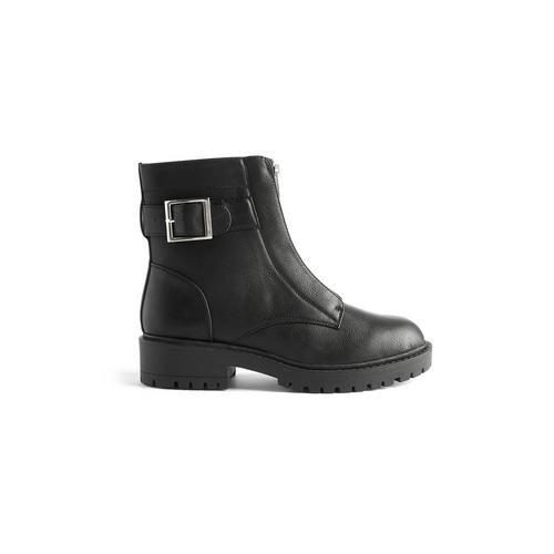 Zwarte vegan enkellaars met gesp en rits | Boots | Schoenen
