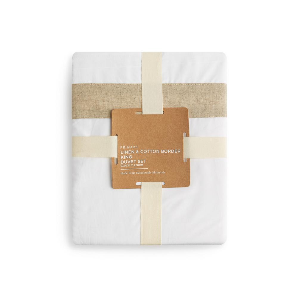 Piumoni Camera Da Letto set piumone king size bianco con bordo in lino e cotone
