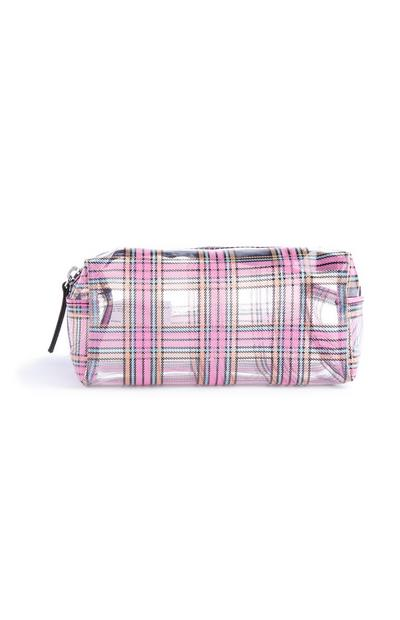 Clear Pink Check Makeup Bag