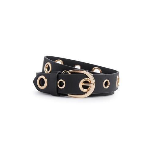 nuovi arrivi stati uniti rivenditore all'ingrosso Cintura nera con occhielli metallici | Cinture | Accessori | Donna ...