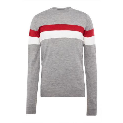 Grey Acrylic Stripe Crew Neck Sweater   Men's Jumpers & Sweaters   Men's  Hoodies & Sweatshirts   Men's Clothing   Our Full Men's Fashion Range   All  Primark Products   Primark UK