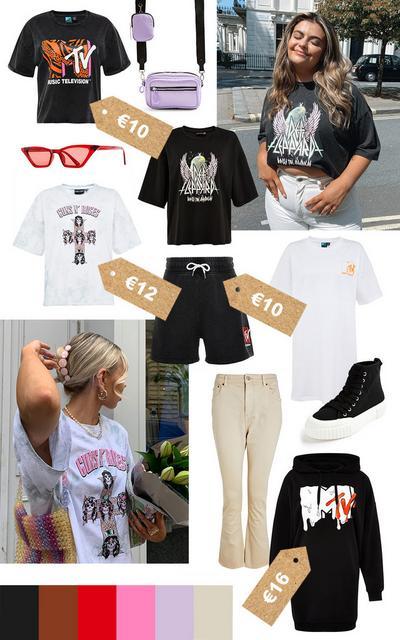 Moodboard mit Band-T-Shirts und -Produkten