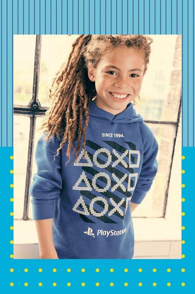 Model wearing Blue Long-Sleeved PlayStation Hoodie