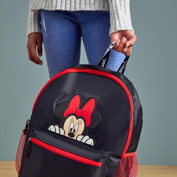 Zwart met rode rugzak met Minnie Mouse