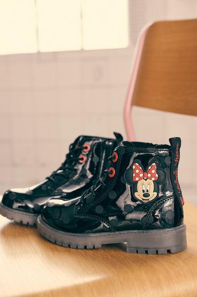 Botas de charol negras de Minnie Mouse con lunares y cordones