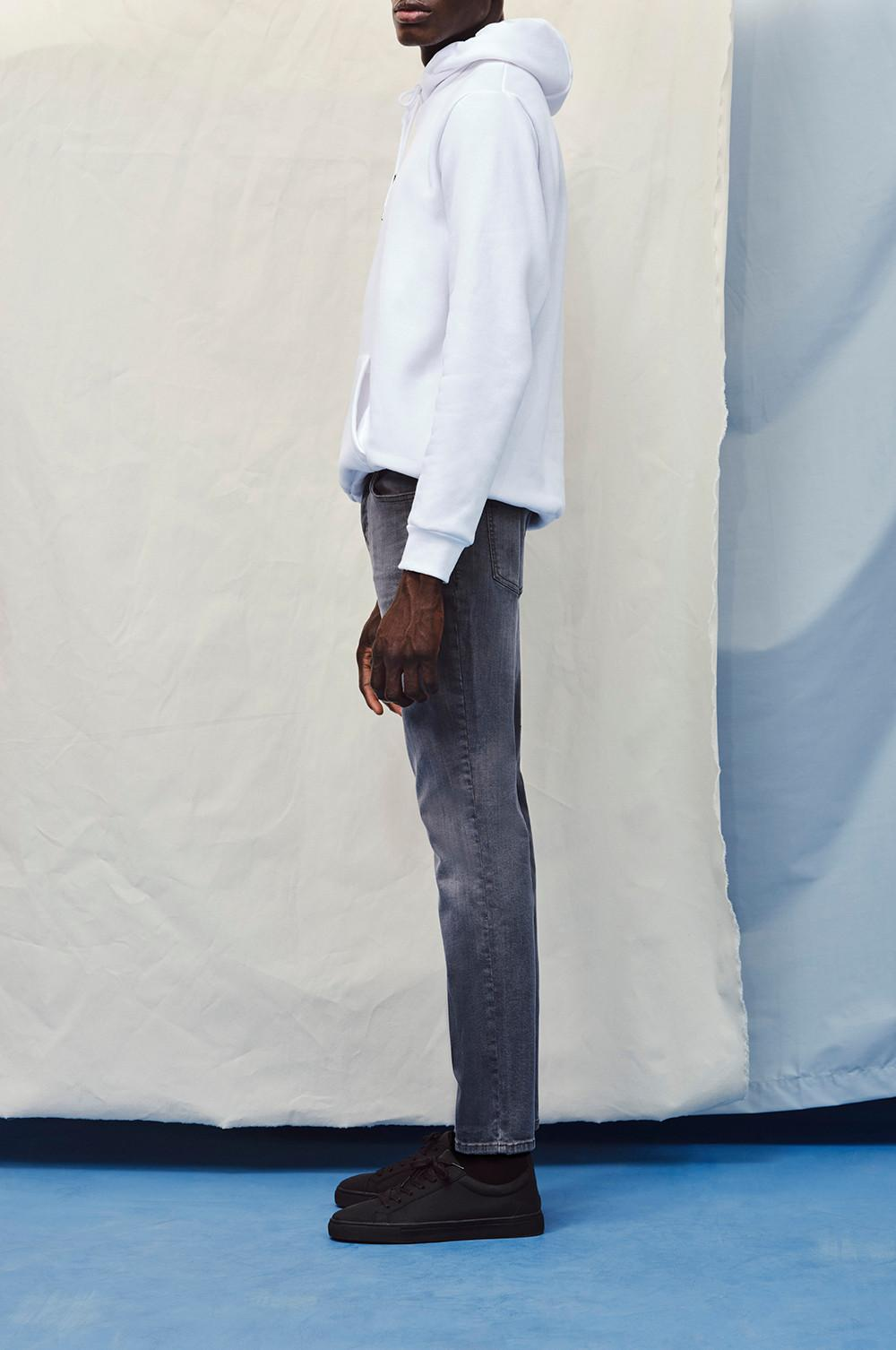 Model wearing The Straight Jean