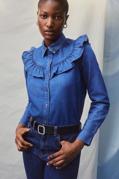 Model wearing Frilled Denim Shirt