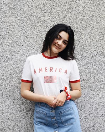 model wearing american t-shirt