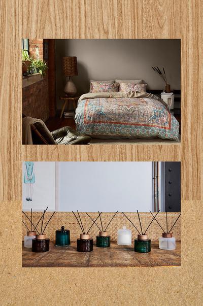 Interieurafbeelding met slaapkamer en geurverspreiders