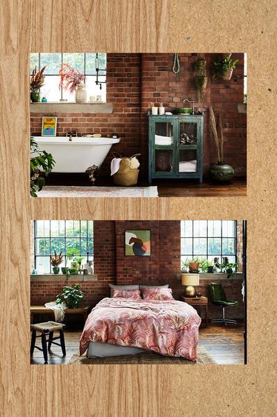 Interieurafbeelding met slaapkamer en badkamer