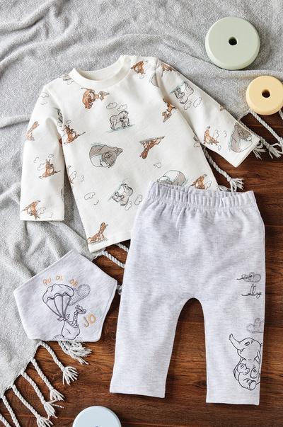 Dumbo Baby 3er-Set mit Rundhalsshirt und Lätzchen