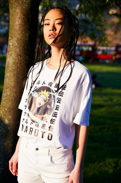 Girl model wearing Anime collection t-shirt