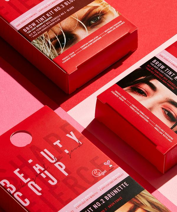 Red packaging flat lay