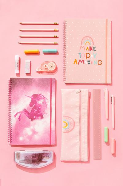 Pink stationery on pink background