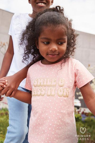 Girl wearing Pink Floral Slogan T-shirt