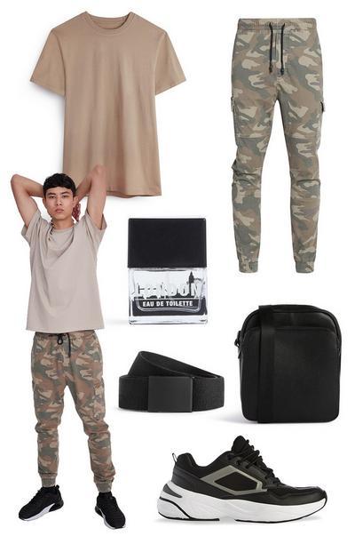 Collage immagini pantaloni cargo con risvolto