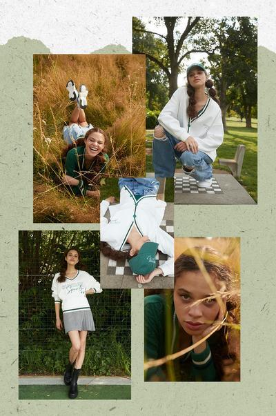 Models in der Preppy-Kleidung der 90er Jahre vor grünem Hintergrund
