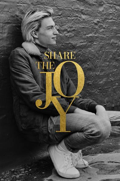 Model wearing causal partywear with 'Share the joy' written over the image