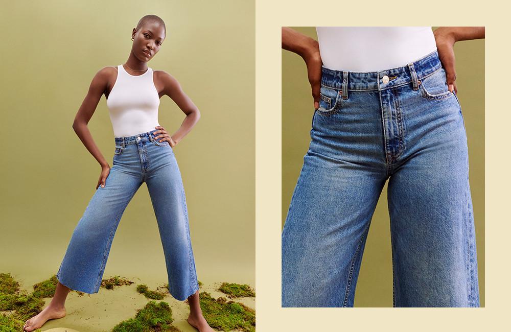 afbeelding korte jeans met wijde pijpen