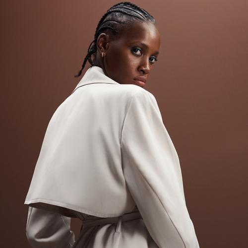 Woman wearing wool blend coat