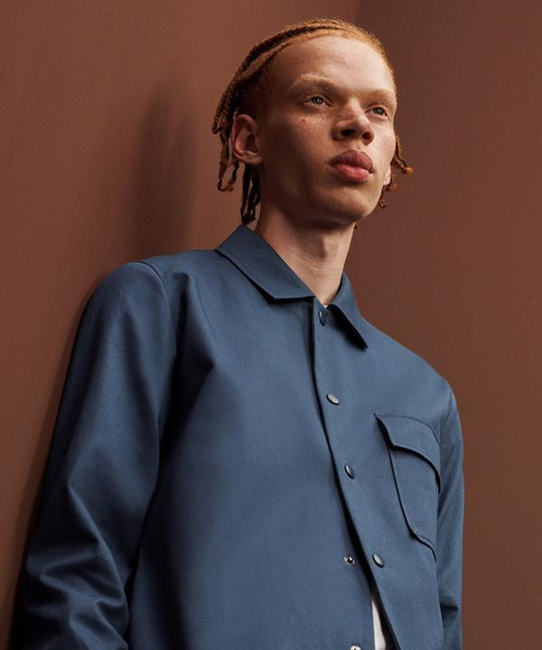 Man in blue shacket