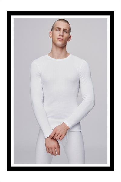 male model in white thermals