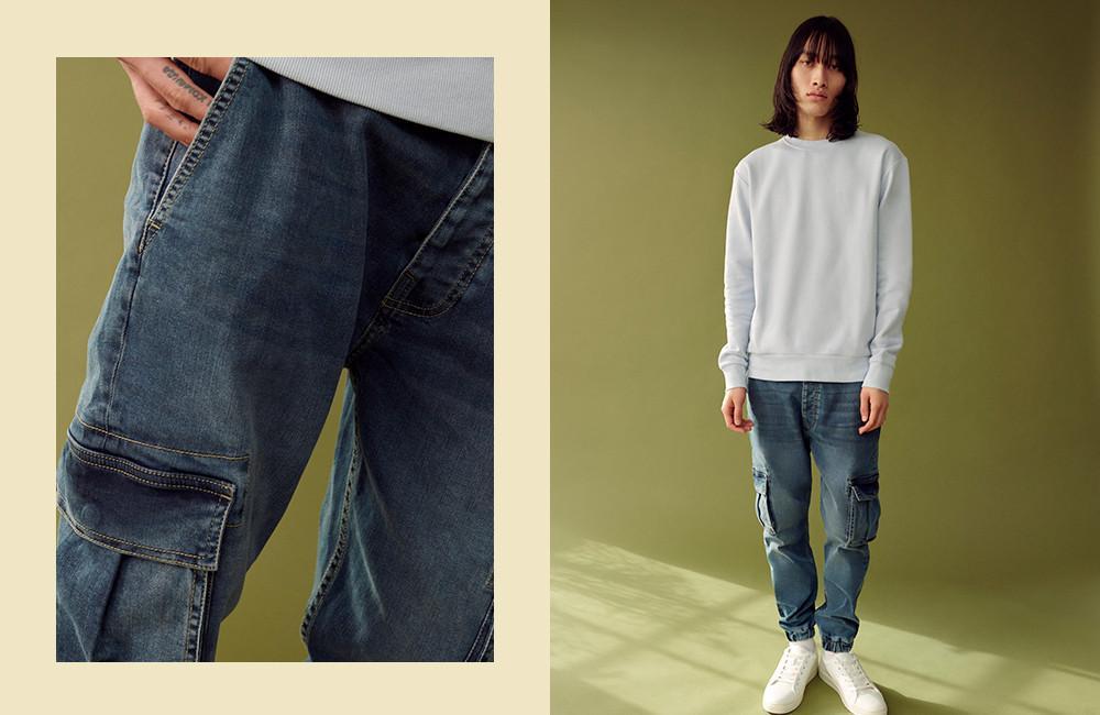 Le jean cargo à chevilles élastiques