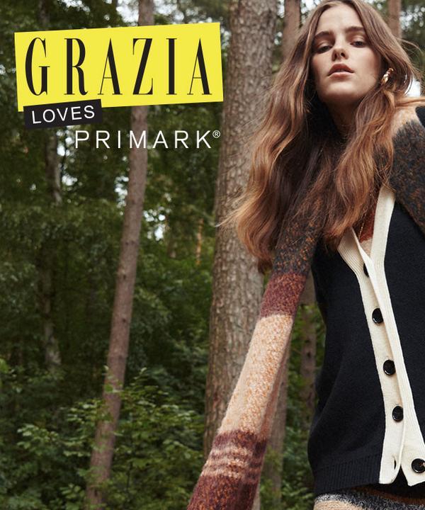 Grazia model wears striped dress