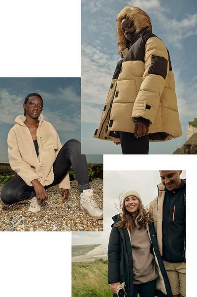 Een collage met afbeeldingen van onze nieuwste jassencollectie voor elk weer - een camelkleurig en zwart pufferjack, ecru en zwart windjack van fleece