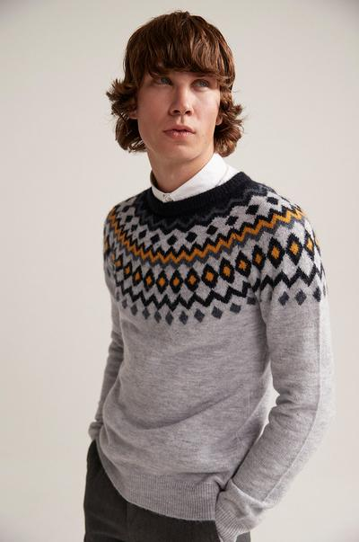 model wearing a sweater with a white shirt
