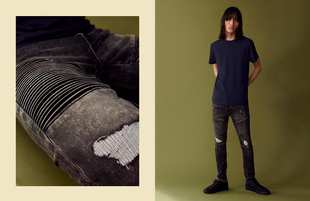 Le jean motard à détail tricot
