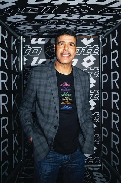 Chris Kamara in Lotto X Primark