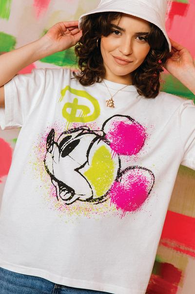 Model wearing White Mickey Mouse Neon Print T-shirt