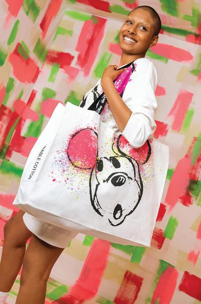 Model wearing Mickey Mouse Large Tote Bag