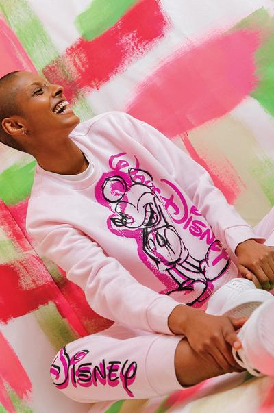 Model wearing Pink Mickey Mouse Print Co-ord Jogger and Sweatshirt