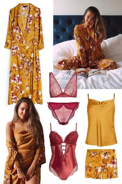 nočna oblačila in spodnje perilo gorčične barve