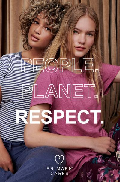 Two models wearing Primarks sustainable pyjamas with the caption 'People, planet, respect'.