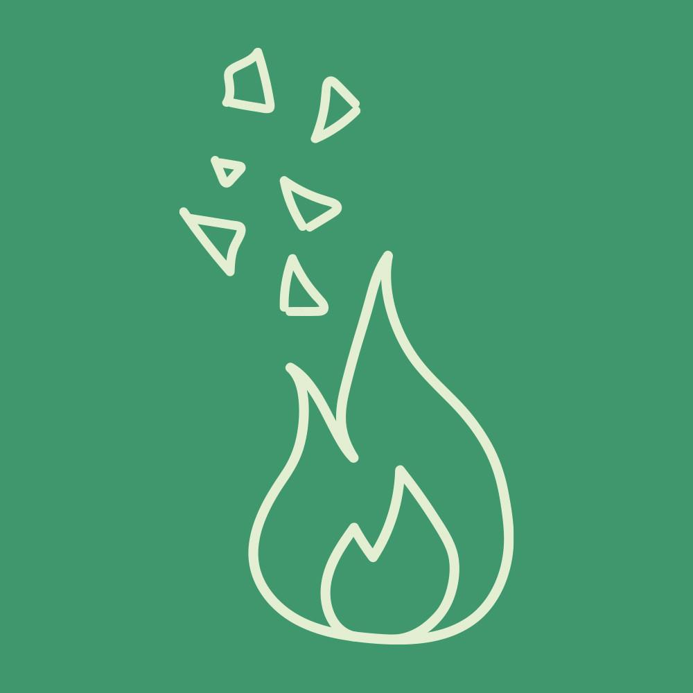 Flame on a green background